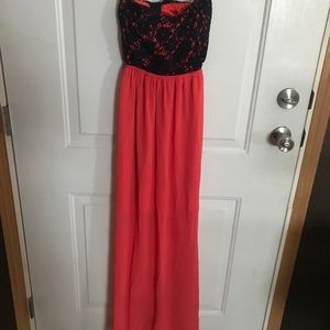 Coral/Navy Strapless Maxi Dress